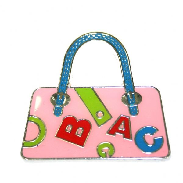 1pce x 39*38mm `rhodium plated light pink handbag with letters enamel charm - SD03 - CHE1230
